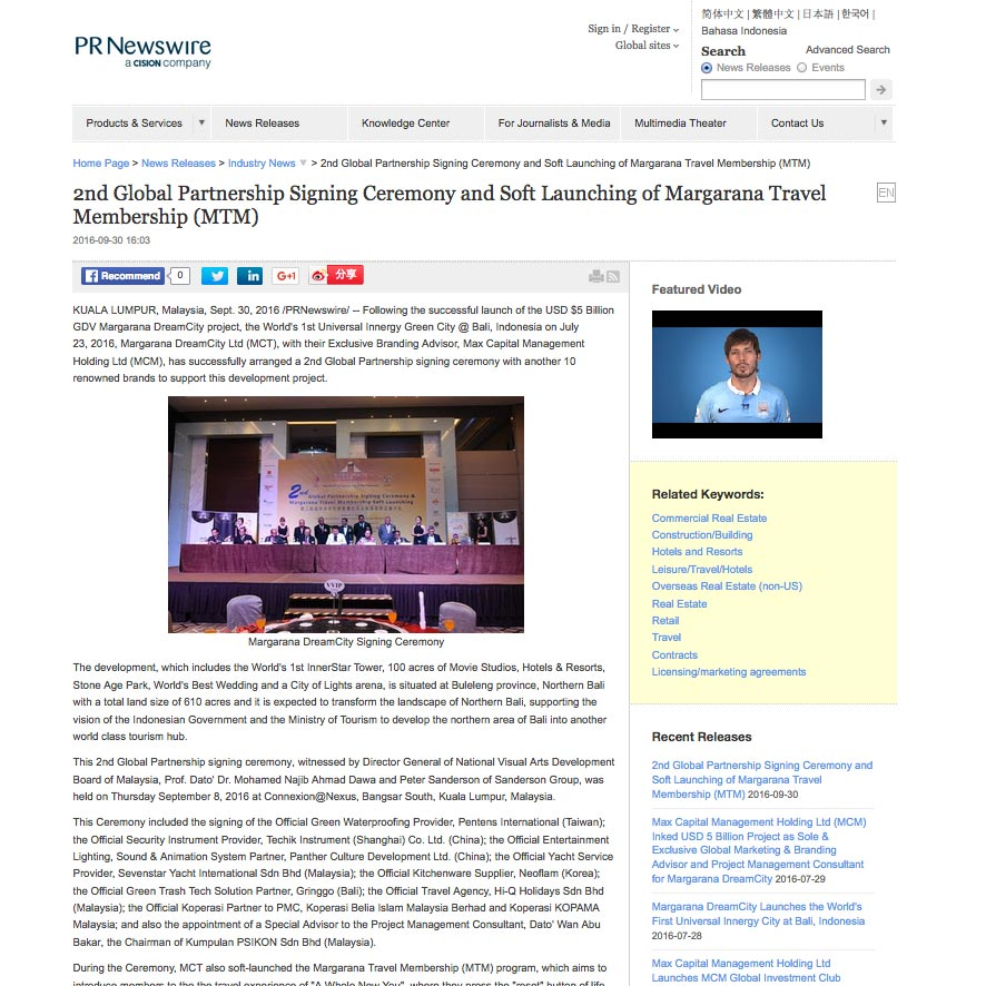 PR Newswire Asia (Friday, 30 September 2016)