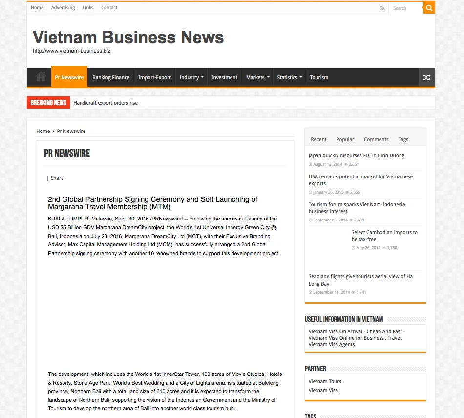 Vietnam Business News (Friday, 30 September 2016)